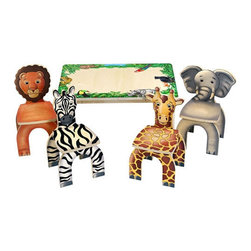 "Anatex - Safari Table & Animal Kid's Novelty Chairs - Get ready for a wild time! The Safari Table and Animal Chairs from Anatex lets your little one sit with a Zebra, Elephant, Lion and Giraffe friends. This animal-themed table and chairs set creates a fun and imaginative environment for children to draw, write and play! A great addition to any kid's room or play area. Features: -Solid wood table with safari border.-4 animal-themed chairs (Zebra, Elephant, Lion and Giraffe).-Sand not included.-For ages 3+.-Product Type: Chair.-Distressed: No.-Powder Coated Finish: No.-Gloss Finish: No.-Solid Wood Construction: No.-Non-Toxic: Yes.-UV Resistant: No.-Fire Resistant: No.-Scratch Resistant: No.-Stain Resistant: No.-Rust Resistant: Yes.-Mildew Resistant: No.-Rot Resistant: No.-Insect Resistant: No.-Arms Included: No.-Upholstered Seat: No.-Upholstered Back: No.-Nailhead Trim: No.-Rocker: No.-Swivel: No.-Glider: No.-Reclining: No.-Footrest Included: No.-Stackable: No.-Foldable: No.-Legs Included: Yes -Number of Legs: 4.-Leg Material: Wood.-Protective Floor Glides: No..-Casters: No.-Storage Area: No.-Cupholder: No.-Skirted: No.-Ottoman Included: No.-Adjustable Height: No.-Ergonomic Design: No.-Age Recommendation: 2+.-Outdoor Use: No.-Seating Capacity: 4.-Weight Capacity: 80 lbs.-Commercial Use: Yes.-Recycled Content: No.-Eco-Friendly: Yes.-Product Care: Wipe with warm moist cloth and quickly dry with cleam dry cloth. Dp not use strong liquid cleaner, ammonia or bleach.-Convertible: No.Specifications: -FSC Certified: No.-CPSIA or CPSC Compliant: Yes.-CARB Compliant: Yes.-Green Guard Certified: No.Dimensions: -Overall Height - Top to Bottom: 21"".-Overall Width - Side to Side: 11"".-Overall Depth - Front to Back: 9.5"".-Seat Height: 9.5"".-Seat Width - Side to Side: 9.5"".-Seat Depth - Front to Back: 9.5"".-Legs: -Leg Height: 9.5"".-Leg Depth: 9.5""..-Overall Product Weight: 45 lbs.Assembly: -Assembly Required: Yes.-Tools Needed: Screwdriver and supplied allen wrench.-Additional Parts Required: Yes .Warranty: -Product Warranty: 90 days warranty of manufacturing defects."