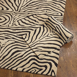 Ballard Designs - Ferrata Zebra Striped Rug - Hand tufted and looped 100% wool, our zebra striped rug is that perfect animal print accent for any room. Use of a Rug Pad is recommended. Sizes are approximate. Imported.