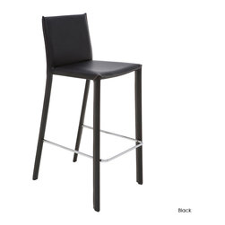 Nuevo Living - Bridget Counter Stool, Set of 2, Black - Enjoy pub-style or bistro-style dining every day with this leather counter stool. The steel frame makes for a solid everyday stool, and the contrast stitching on the leather will have you sitting pretty and comfortably at your kitchen counter or pub table.