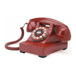 Crosley Radio - Retro Desk Phone in Red - Push Button Technology. Rotary Fashion Dial. Flash/Redial Feature. Tone/Pulse Switch. Ringer Volume ON/OFF Switch. Ear-piece Volume Control. Pictured in Red. Available in various finishes