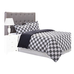 """300 Thread Count Cotton Fox Duvet Cover Set - Full/Queen - The Fox Duvet features a checkered pattern of white and grey. This duvet cover set is sure to please and add style and color to your bedroom. Set includes: (1) Duvet Cover 90x92"""" and (2) Pillow Shams 20x26""""."""