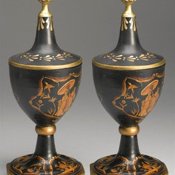 AA Importing - Asian Urn Pair in Black Finish - Removable lid. With Gold and Bronze painted crackle-like finish. Inside is painted Black. Resin. Oriental design. 5.5 in. Dia. x 15 in. H