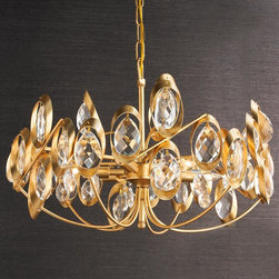 Golden Ribbons With Crystal Prisms, Matte Gold - This fixture just screams sophisticated glam to me. Wouldn't it be perfectly at home in a Regency-inspired boudoir or bath? It has just the right amount of sparkle.