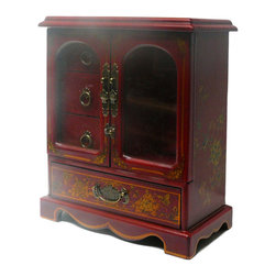 Golden Lotus - Chinese Red Phoenix Dragon Mirror Drawers Storage Box - This jewelry / storage accent box is modified from the traditional Chinese box. It is made of cardboard paper and covered with artificial leather.  ( Mirror is at the section next to three drawers )