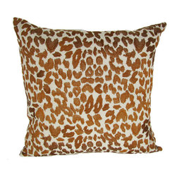 Design Accents - Leopard Brown Cotton Linen 2222 Decorative Pillow - - Trendy leopard print design on hand embroidered linen pillow.  - Cover Material: Cotton Linen pillow cover  - Fill Material : Down feather insert  - Cleaning/Care: Dry Clean Only  - Fabric Material: Cotton Linen Design Accents - KSS-0128-Leopard Brown