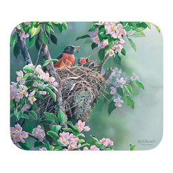 "505-Rise & Shine Robins Mouse Pad - Decorate your desk with your favorite art designs that look great and protect your mouse from scratches and debris. 100% Polyester face, 100% neoprene backing, permanently dye printed & fade resistant. 9.25"" x 7.5"""