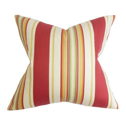 The Pillow Collection - Douce Stripes Pillow Red - Our pillow collection offers a variety of patterns, including this sleek stripe pillow. This square pillow features multiple colors in shades of red, yellow, green and white. Decorate this throw pillow in your home or office space for texture and comfort. Made with 100% plush and soft cotton fabric. Hidden zipper closure for easy cover removal.  Knife edge finish on all four sides.  Reversible pillow with the same fabric on the back side.  Spot cleaning suggested.