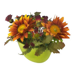 Jane Seymour Botanicals - Sunflowers & Cosmos in Green Ceramic Vase - Who says you need sun to enjoy sunflowers? This fantastic floral arrangement, featuring lifelike sunflowers, cosmos and thistles, will thrive in any spot in your home that needs a little cheerful splash of color.