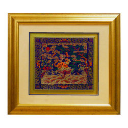 China Furniture and Arts - Foo Dog Silk Embroidery Shadow Box - Exquisitely embroidered with silk threads that show the finest gradation of color. Foo Dog is a fantasy lion in Chinese mythology that serves as a guardian to prevent harmful things from happening to the family. The myth spread to Japan and other Asian countries during Tang Dynasty (618-906), and Foo Dog became stylized in different postures in different countries. Ready to be hung.