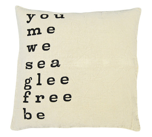 Kathy Kuo Home - You Me We' Large Print Linen Down Throw Pillow - If you're looking for a way to add graphic punch, high quality and handmade style to your sofa, this pillow is just your type. Words are hand-printed in black on 24-inch square natural linen. Free your glee and just be.