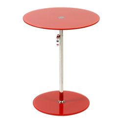 Eurostyle - Radinka Side Table-Red - When you place a lamp on this fantastic side table, the lamp just shines … literally and figuratively. The circular top and base are beautiful bookends to the slender column, which work to present any displayed item in its best light.