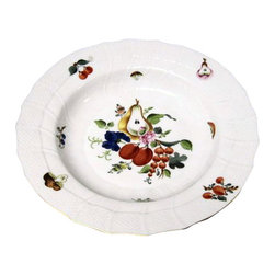 Herend - Herend Fruits & Flowers (BFR) Rimmed Soup Bowl - Herend Fruits & Flowers (BFR) Rimmed Soup Bowl