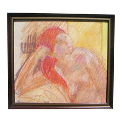 "Pre-owned Nude Woman Original Oil Pastel Art - In the style of Toulouse-Lautrec, this original artwork features warm hues and deliberate strokes. This signed and framed oil pastel, titled ""Red-Haired Woman,"" 1983."