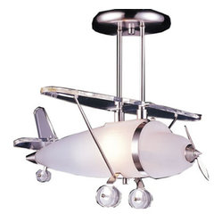Prop Plane Chandelier in Satin Nickel