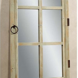 Bassett Mirror - Door Mirror in Antique Clear Pine Finish - Moss Green accents. 32 in. W x 77 in. H