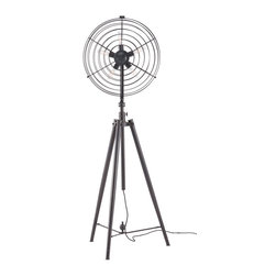 Zuo Modern - Zuo Modern 98234 Opal Floor Lamp Antique Black Gold - Like a giant antique fan, the Opal floor lamps fan blades are replaced by five 40w tube bulbs for added effect and the height is adjustable. The lamp is UL approved.