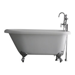 "Baths of Distinction - Hotel Collection Classic Clawfoot Bathtub/Faucet Package, 65"" Length - Package consists of a classic style clawfoot bathtub in 65"" along with hardware including faucet with handheld shower, drain with lift off stopper, straight supply lines and claw feet all in chrome.  Bathtub is made of CoreAcryl acrylic with a resin/powdered stone filler.  Bathtub has a built in aluminum heat barrier within the tub body.  The surprise with this bathtub is the floor room and the depth found in it for a 65"" bathtub."