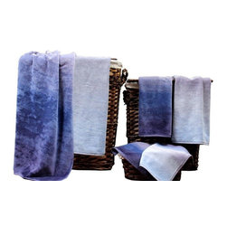Yarn dyed Jacquard 6 piece towel set Indigo Aura - Indulge yourself in spa like luxury with this luxurious six-piece towel set. The set is made of Egyptian cotton known for its softness, absorbency, and durability. These towels make an ideal complement to any bathroom whether you use it to pamper yourself or reserve it for special guests. Egyptian cotton fibers are valued for their superior length and strength, which also reduces the buildup of pile and lint. These towels will feel cozy and comfortable against your skin every time you use them. Additionally the towels get softer with washing and drying.