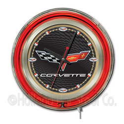 Holland Bar Stool - Holland Bar Stool Clk15C6BKGD Corvette - C6 Neon Clock - Clk15C6BKGD Corvette - C6 Neon Clock belongs to General Motors Collection by Holland Bar Stool Our neon-accented Logo Clocks are the perfect piece for any Corvette - C6 fan. Chrome casing and a red neon ring accent a custom printed clock face, lit up by an brilliant white, inner neon ring. Neon ring is easily turned on and off with a pull chain on the bottom of the clock, saving you the hassle of plugging it in and unplugging it. Accurate quartz movement is powered by a single, AA battery (not included). Whether purchasing as a gift for your favorite Corvette collector or for yourself, you can take satisfaction knowing you're buying a clock that is proudly made by the Holland Bar Stool Company, Holland, MI. Clock (1)