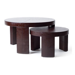 Kenneth Cobonpue - Kenneth Cobonpue Nobu Round Coffee Table - This coffee table is constructed of embossed leather and stainless steel.  Available in three sizes.  Intended for indoor use only.  Manufactured by Kenneth Cobonpue in The Philippines.  Price includes delivery to the USA.