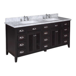 Kitchen Bath Collection - Savannah 72-in Bath Vanity (Carrara/Chocolate) - This bathroom vanity set by Kitchen Bath Colletion includes a chocolate colored cabinet with soft close drawers, stunning Carrara marble countertop with double-thick beveled edges, self-closing doors, double undermount ceramic sinks, pop-up drains, and P-traps. Order now and we will include the pictured three-hole faucets and a matching backsplash as a free gift! All vanities come fully assembled by the manufacturer, with countertop & sink pre-installed.