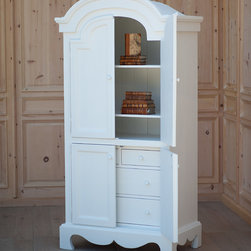 Neutral & Interesting Furniture by Bradshaw Kirchofer Handmade Furniture - The English Farmhouse Armoire is perfectly elegant with it's curved, wood detailing. It can be used as a media cabinet, a linen cabinet or a guest wardrobe. It comes with hanging pole, adjustable shelves and drawers behind the lower doors. Consider adding an contrast interior paint color or stain (as shown) for no extra charge.