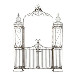 Benzara - Classic Antique Metal Garden Yard Gate Bronze Curled Outdoor Decor - Classic antique inspired style metal garden and yard gate with a bronze finish and curled accents outdoor home decor