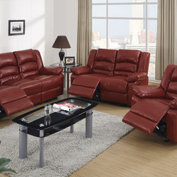 Modern Burgundy Leather Reclining Sofa Loveseat Motion Couch Living - The handsome bonded leather reclining set has full ample seating,reinforced with comfy, crushy foam and segmented cushioning on the back for extra lumbar and neck support. Robust hardwood frame, high-density foam, seat webbing and seat springs all of which combine to produce a sofa set that is durable, strong and will stand the test of time!