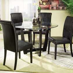 Homelegance - Homelegance Sierra 48 Inch Round Dining Table w/ Glass Top - The glass topped Sierra Collection adds flair to any contemporary casual dining space. The ebony finish is set off by a chrome accent ring furthering its modern shape and appearance. Available in regular height and counter height. Made of select hardwoods and veneers, chairs covered in black bi-cast vinyl. - 722-48-G.  Product features: Belongs to Sierra Collection; Adds Flair to Any Contemporary Casual Dining Space; Sleek, Sharp Lines; Effortlessly Blends in With Any Decor; Ebony Finish; Select Hardwoods and Veneers; Glass Top. Product includes: Dining Table (1). 48 Inch Round Dining Table w/ Glass Top belongs to Sierra Collection by Homelegance.