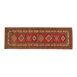 1800GetARug.com - Tribal Design Runner Hand Knotted 3'x8' Super Kazak Rug 100% Wool Sh18084 - Tribal Design Runner Hand Knotted 3'x8' Super Kazak Rug 100% Wool Sh18084