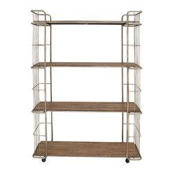 Modernly Designed Metal Wood Rolling Shelf - Description: