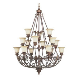 """Progress Lighting - Progress Lighting P4192-75 Messina 15 Light 3 Tier Chandelier P4192-75 - The Three Tier, Fifteen Light chandelier in the hand - painted Aged Mahogany finish of the Messina collection incorporates decorative leaves, scrolls and intricate details with sepia haze glass.Messina Two Tiered 15 Light Chandelier Borrowing the finest design elements of the Old World, the Messina collection incorporates a sophisticated iron scroll basket motif. The hand painted Aged Mahogany finish brings out decorative leaves, scrolls and intricate detailing, while sepia haze glass or exposed candles create quite an ambiance Overall Height with Chain: 179"""" with 15' of wire 15 Medium Base bulbs 75W max (Not Included)Bulb Type: Incandescent Collection: Messina Height: 56"""" Length: 179"""" Light Direction: Up Lighting Number Of Lights: 15 Number of Tiers: 3 Series: Thomasville Socket 1 Base: Medium Socket 1 Max Wattage: 75 Style: Renaissance Suggested Room Fit: Dining Room Wattage Per Bulb: 75 Width: 42""""Thomasville Lighting Collection. Weight of fixture exceeds NEC limits. Consult professional electrician for proper installation"""