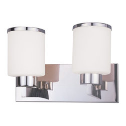 Z-Lite - Z-Lite Cosmopolitan Bathroom Light X-HC-V2-313 - For a cutting edge modern fixture, look no further than this two light vanity. Milk white shades are complimented with chrome bands, and accented with a modern styled wall mount.