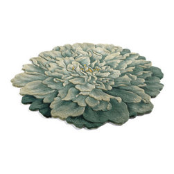 Grandin Road - Peony Indoor Rug - 100% wool. Hand-tufted construction. Cotton-latex backing for extra stability. Our round and half-round Peony Indoor Rugs are jewelry for your floor. These soft and durable wool rugs feature sculpted edges, hand-carved details, and shaded colorations that add remarkable dimension.  .  .  . Imported.