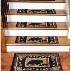 """Dean Flooring Company - Dean Premium Carpet Stair Treads - Black Bear Cabin 31"""" x 9"""" (Set of 13)  & Mat - Dean Premium Carpet Stair Treads - Black Bear Cabin 31"""" x 9"""" (Set of 13)  Plus a Matching Landing Mat : Premium Patterned Carpet Stair Treads by Dean Flooring Company Color: Black Bear Cabin Material: 100% Polypropylene. Edges: Finished (Serged) with Color Matching Yarn. Each tread measures approximately 31"""" x 9"""". Set includes 13 stair treads plus a matching landing mat (size: approximately 32"""" x 20"""").  Unique cabin lodge design. Easy to spot clean and vacuum. Helps prevent slips on your hardwood stairs. Great for helping your dog easily navigate your slippery staircase. Reduces noise Reduces wear and tear on your hardwood stairs Attractive: adds a fresh new look to your staircase. Easy DIY installation with double sided carpet tape (not included). High quality patterned soil and stain resistant carpeting. Add a touch of warmth and style to your home today with stair treads from Dean Flooring Company!"""