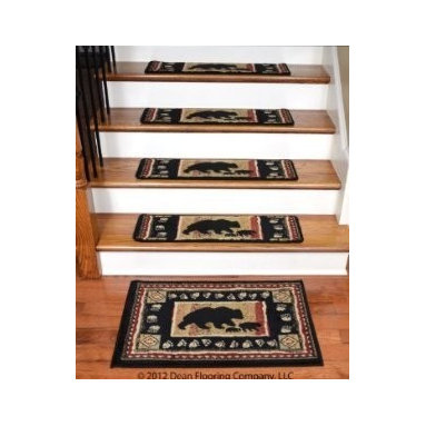 "Dean Flooring Company - Dean Premium Carpet Stair Treads - Black Bear Cabin 31"" x 9"" (Set of 13)  & Mat - Dean Premium Carpet Stair Treads - Black Bear Cabin 31"" x 9"" (Set of 13)  Plus a Matching Landing Mat : Premium Patterned Carpet Stair Treads by Dean Flooring Company Color: Black Bear Cabin Material: 100% Polypropylene. Edges: Finished (Serged) with Color Matching Yarn. Each tread measures approximately 31"" x 9"". Set includes 13 stair treads plus a matching landing mat (size: approximately 32"" x 20"").  Unique cabin lodge design. Easy to spot clean and vacuum. Helps prevent slips on your hardwood stairs. Great for helping your dog easily navigate your slippery staircase. Reduces noise Reduces wear and tear on your hardwood stairs Attractive: adds a fresh new look to your staircase. Easy DIY installation with double sided carpet tape (not included). High quality patterned soil and stain resistant carpeting. Add a touch of warmth and style to your home today with stair treads from Dean Flooring Company!"