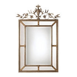 "Uttermost - Uttermost 11201 B Le Vau Ornate Beveled Mirror - Uttermost 11201 B Le Vau Vertical MirrorThis frame features a generous 1 1/4"" beveled mirror.The outer panels contain beveled mirrors between the inner and outer frames. A decorative metal cartouche adorns the frame's top. The silver leaf undercoat has a heavy gray wash with gold leaf highlightFeatures:"