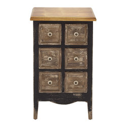 Fascinating Styled Wood 6 Drawer Chest - Description: