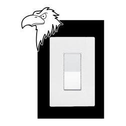StickONmania - Lightswitch Eagle #2 Sticker - A vinyl sticker decal to decorate a lightswitch.  Decorate your home with original vinyl decals made to order in our shop located in the USA. We only use the best equipment and materials to guarantee the everlasting quality of each vinyl sticker. Our original wall art design stickers are easy to apply on most flat surfaces, including slightly textured walls, windows, mirrors, or any smooth surface. Some wall decals may come in multiple pieces due to the size of the design, different sizes of most of our vinyl stickers are available, please message us for a quote. Interior wall decor stickers come with a MATTE finish that is easier to remove from painted surfaces but Exterior stickers for cars,  bathrooms and refrigerators come with a stickier GLOSSY finish that can also be used for exterior purposes. We DO NOT recommend using glossy finish stickers on walls. All of our Vinyl wall decals are removable but not re-positionable, simply peel and stick, no glue or chemicals needed. Our decals always come with instructions and if you order from Houzz we will always add a small thank you gift.
