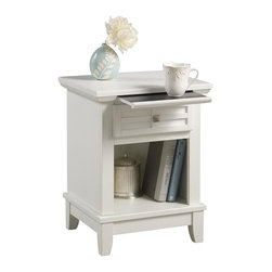 Home Styles - Home Styles Arts & Crafts Night Stand in White Finish - Home Styles - Nightstands - 518242 - Mission Styling at its best!  The Arts & Crafts Night Stand embellishes typical mission styling with a framed drawer showcasing raised wood lattice moldings and slightly flared legs.  Finished in a White finish over hardwood solids and engineered woods with square brushed nickel hardware this night stands simplistic yet detailed design makes it an ideal piece for any bedroom setting. The top of the hidden pull-out tray features a scratch and stain resistant finish. Size:  18 x 16 x 24