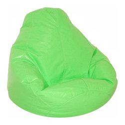 Elite Products - Wetlook Vinyl Bean Bag w Locking Zipper - This neon color vinyl wetlook kid's large bean bag features pvc polystyrene beads in a durable polyester/cotton print fabric.  Easy to store and refill, this bean bag is recommended for children ages 4 to 10. Long lasting and durable. Double stitched with double overlap folded seam. Double zippered bottom for added security. Childproof safety lock zipper pulls. Light, convenient to move and store. Easy to clean. Recommended seating age: 4 to 10 years. Warranty: One year limited. Made from PVC vinyl and polystyrene bead. Made in USA. No assembly required. 32 in. L x 30 in. W x 25 in. H (6 lbs.)