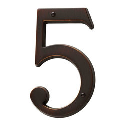 Baldwin Hardware - Large House Number 5 in Venetian Bronze (90675.112.CD) - Feel the difference - Baldwin hardware is solid throughout, with a 60 year legacy of superior style and quality. Baldwin is the choice for an elegant and secure presence.