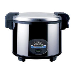 SPT Appliance - Sunpentown 35 Cups Heavy Duty Rice Cooker w A - The airtight lid on this incredible heavy-duty tabletop cooker seals in flavor and moisture as it steams your rice or vegetables to delicious perfection.  Food experts know that steam cooking foods is healthier because all of the nutrients are retained in the food as it cooks.  With a huge 35-cup capacity, this large cooker is ideal for commercial as well as home use.  Brilliant stainless steel finish looks great in any kitchen or service application. Stainless steel body. Easy one-button operation. Pilot indicator lights. Automatic keep warm system, for up to 24hours. 3-Dimensional heating for even cooking. Inner pot made with Crystalline Teflex Non-Stick coating. Cool touch exterior. Air-tight lid locks in moisture and flavor. Condensation collection cup. Safety lock button. Capacity: 35 cups / 5.4 L. Input voltage: 120V / 60Hz. Power consumption: 1550 W. 15 in. W x 18.75 in. D x 13 in. H (20 lbs.)Super large, heavy-duty rice cooker with stainless steel body. Up to 24 hours keep warm and features 3-dimensional heating for even cooking (from top, sides and bottom). Inner pot made with Crystalline teflex Non-Stick Coating.