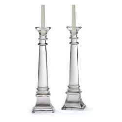 Go Home - Go Home Fontaine Candlesticks - Create a graceful aura in your living space with these Country Chic Fontaine Candlesticks. These candlesticks are sure to give your space an admirable beauty with its graceful charm. These candlesticks are manufactured with glass and given a hand-blown finish that makes it simply attractive whether you lit up the candles or not. Craftsman has designed this elegant piece with an aesthetic sense to give your area an embellished beauty. These candlesticks resemble a trophy given with sturdy base to hold candles. These candlesticks flaunt your sophisticated style. They are designed so elegantly that can never go unnoticed by any onlooker.