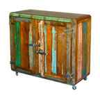Sierra Living Concepts - Retro Rustic Reclaimed Wood Rolling Mini Buffet Cabinet - Remember the solid hardwood cabinets with round corners popular in the 1950's?