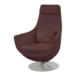 Zuri Furniture - Astro Comfortable Swivel Chair - Brown - Retro inspired design, the Astro chair brings together a classic contemporary look with unbeatable comfort. Wrapped in faux brown alligator leather, with high polished chrome base, the Astro is sure to add a smart sense of style to your home. Please note: This chair is only available in brown.