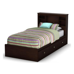 South Shore - Willow Twin Mates Bed w Headboard in Havana F - Manufactured from eco-friendly, EPP-compliant laminated particle boardcarrying the Forest Stewardship Council (FSC) certification. Bed foam and sheets not included. Headboard features ample storage for things. Mates bed features 3 large and practical drawers. Manufactured from engineered wood products. 5-Year manufacturer's warranty. Assembly required. Bookcase headboard: 42 in. L x 8 in. W x 40 in. H. Mates bed: 76.34 in. L x 40.35 in. W x 13.8 in. HThis collection of children's furniture is a cozy, yet practical, delight with its rich Havana finish and ample storage. Its transitional style seamlessly blends traditional decorative moldings and contemporary metal handles. Moms will love the extensive closed and open storage spaces for toys, clothing and other items.