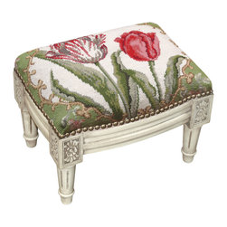 Tulip Needlepoint with Nail Heads On Whitewashed Wood Small Footstool - Great for traditional, French Country, shabby chic or almost any decor. These are small so they are great for tight spaces. Use for extra seating if you need it.