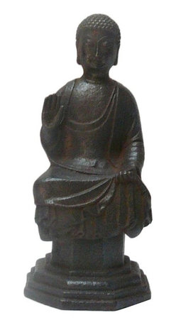 "Golden Lotus - Chinese Rustic Iron Pedestal Sitting Buddha Statue - Dimensions:   Dia 4"" x h9.5"""
