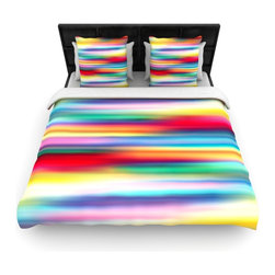 """Kess InHouse - Danny Ivan """"Blurry Cool"""" Rainbow Blur Cotton Duvet Cover (Queen, 88"""" x 88"""") - Rest in comfort among this artistically inclined cotton blend duvet cover. This duvet cover is as light as a feather! You will be sure to be the envy of all of your guests with this aesthetically pleasing duvet. We highly recommend washing this as many times as you like as this material will not fade or lose comfort. Cotton blended, this duvet cover is not only beautiful and artistic but can be used year round with a duvet insert! Add our cotton shams to make your bed complete and looking stylish and artistic!"""